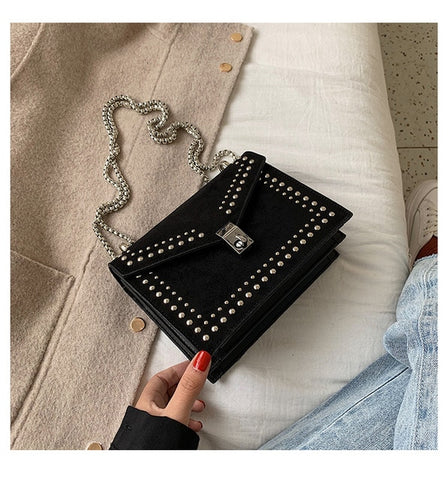 Vintage Leather Crossbody Travel Chain Fashion Rivet Lock Handbags