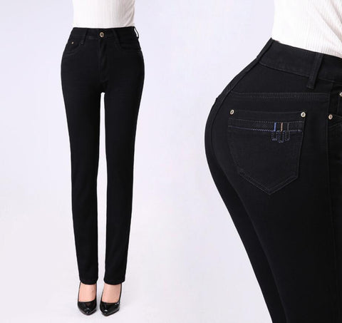Slim Straight High Waist Cotton Plus Size Denim Jeans