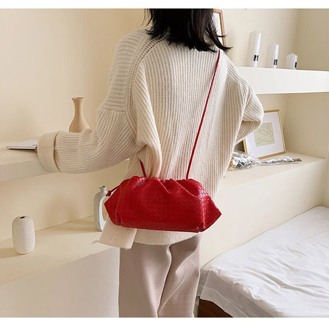 High Quality PU Brand Design Woven Dumpling Cross Body Shoulder Bags