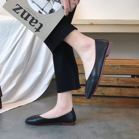 Fashion Low-heeled Anti-skid Shoes Skid-proof Square Toe Flat