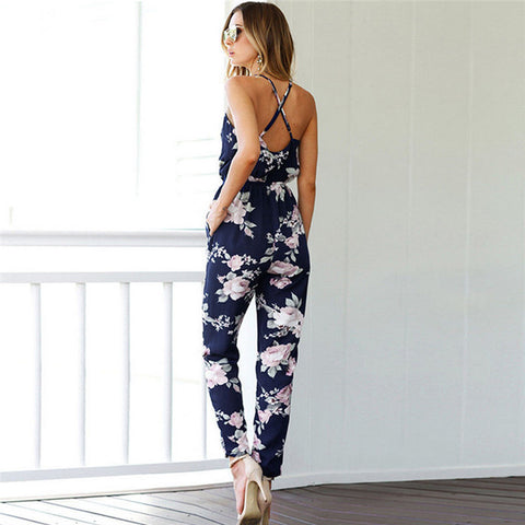 Sleeveless Floral Jumpsuits Clubwear Playsuit Bodycon Party Sexy Backless
