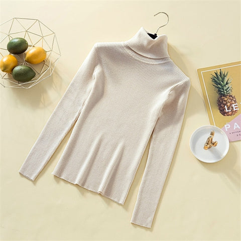 Knitted Turtleneck Sweater Casual Soft Solid Jumper Fashion