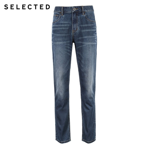 Casual Cotton-containing Micro-elastic Tapered Clothes Denim Pants Jeans