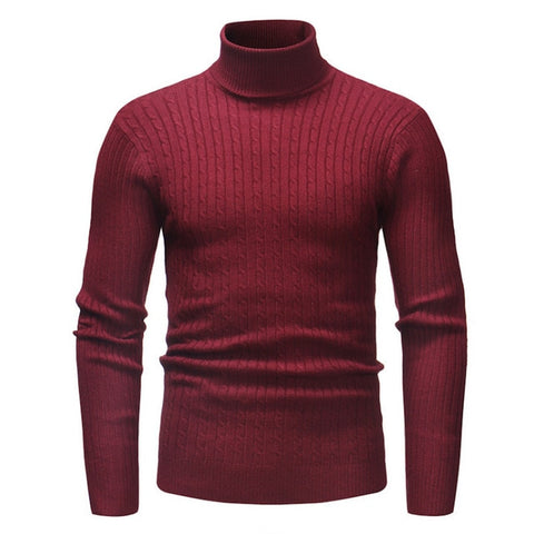 Turtleneck Solid Color Casual Slim Fit Brand Knitted Pullovers Sweaters