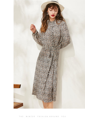 Leopard Printed Long Sleeved Fashion Dress