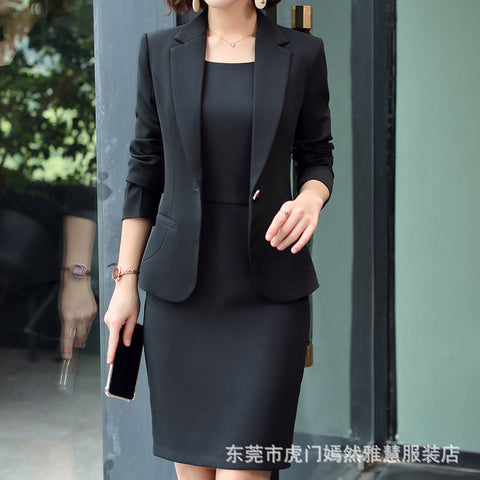 Office Wear Full Sleeve Slim two Piece Set Blazer Dresses