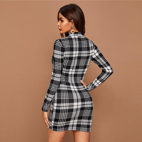 Black And White Plaid Stand Collar Elegant Long Sleeve Office Bodycon Dresses