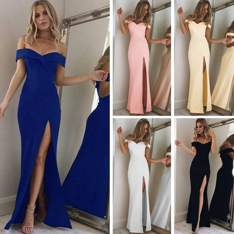 New Strapless Shoulder Tube Top Party Sexy Slim Long Dresses