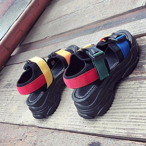 New Ins Fashion Toe-open Color Thick-soled Version Student Sports Style Sandals