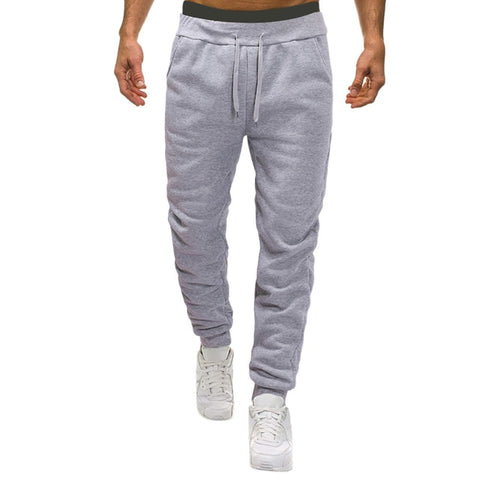 Casual Drawstring Solid Pocket Ankle-Length Trousers Baggy Sweatpants