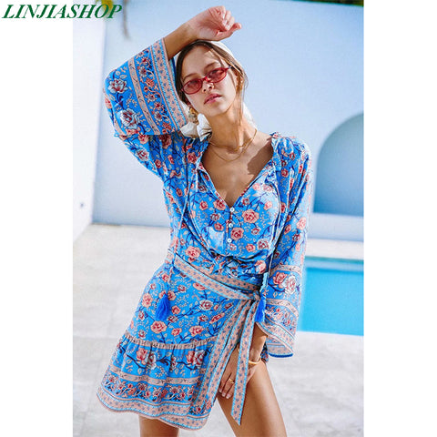 Designer stylish bohemian rayon blouse and shirt long flare sleeve