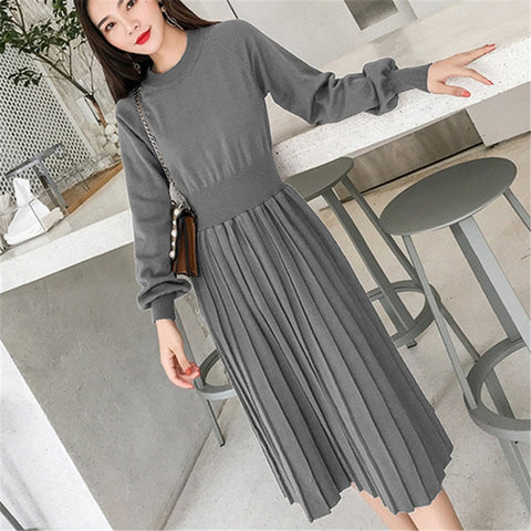 Fashion Knitted Elegant High Waist Pleated Sweaters Dress