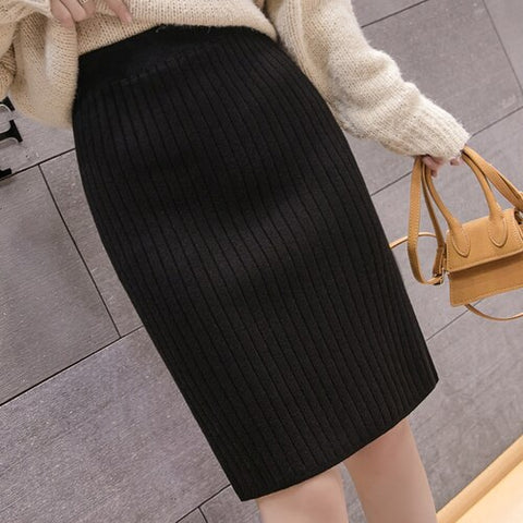 Fashion Sweaters Elegant Knitted Wool Bodycon Pencil Skirt