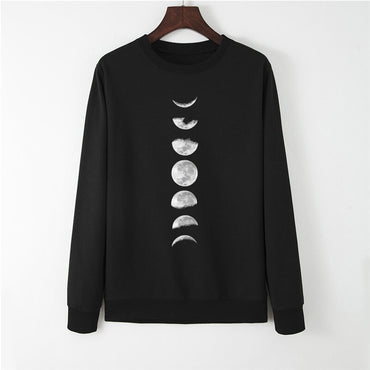 New Moon Planet Print Hoodie Long Sleeve Pullover
