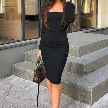Elegant Sexy Black Blue Red Cocktail Party Slim Fit Dresses