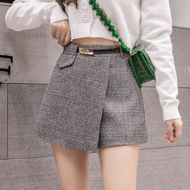 Irregular Woolen Plaid Shorts Skirts Office Short