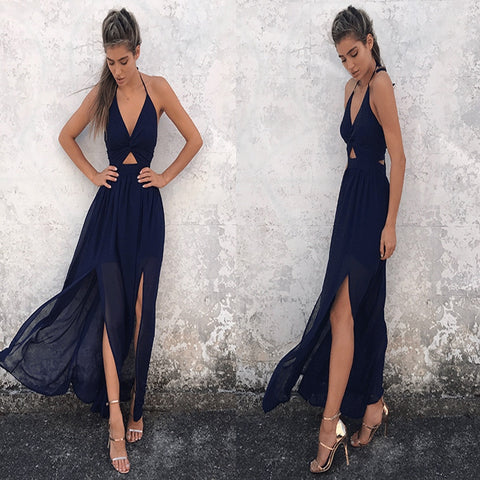 Long Hot Beach A-line Sleeveless Spaghetti Strap Maxi Dress