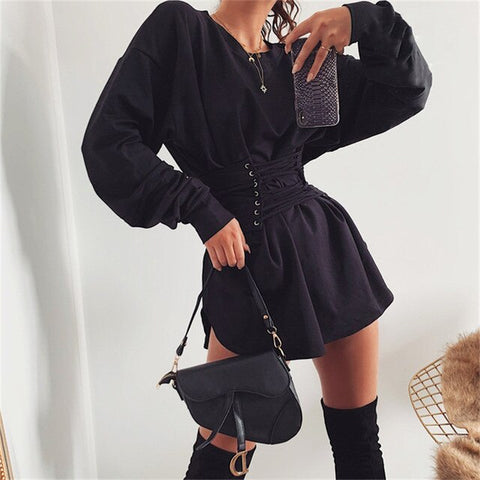 Casual A-line With Belt Hight Waist Bandage Laceup Slim Long Sleeve Dress