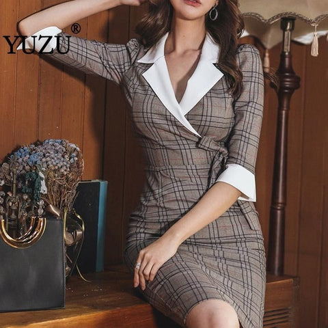 Khaki Office Bodycon Bow Lace Up Turn-down Collar Formal Dress