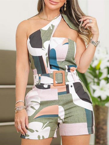 One Shoulder Knotted Detail Abstract Print Romper Jumpsuit