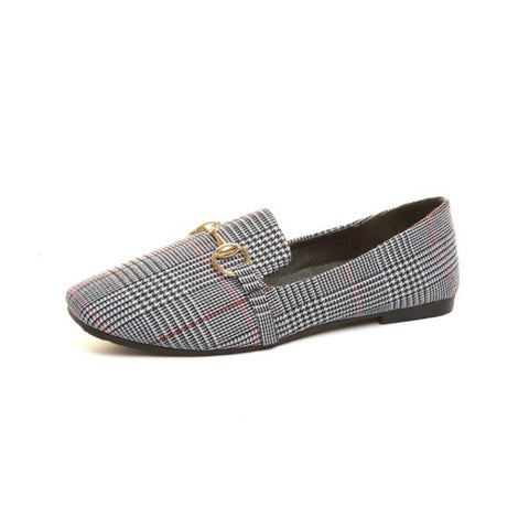 New Retro Tartan Design Round Top Metal Button Flat shoes