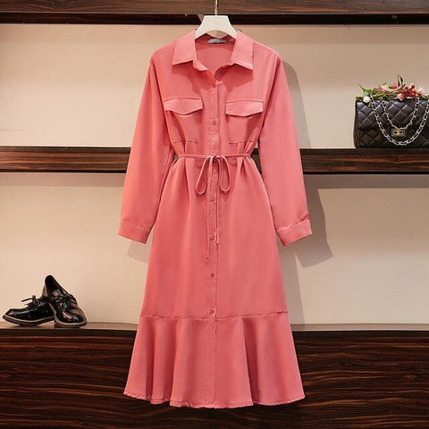 Shirt Sleeve Casual Pockets Plus Size Shirt Big Size Office Long Dress