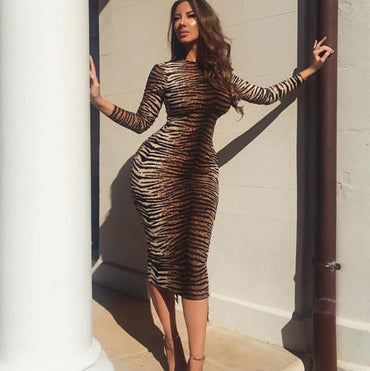 New Long Sleeve Tiger Leopard Ladies Sexy Evening Party Dress