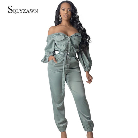 Sexy Off Shoulder Long Sleeve Bandage Belt Casual Button Jumpsuits