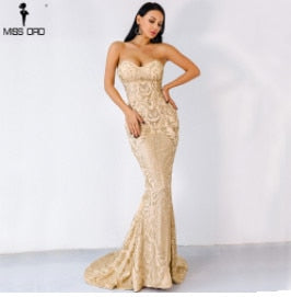 Strapless Glitter Maxi Sparkle Female Bodycon Floor Length Party Dress