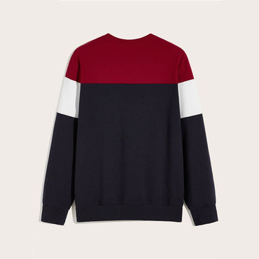 Guy Crew Neck Colorblock Letter Print Sweatshirt
