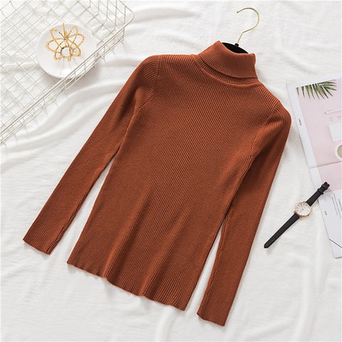 Stretch Sweaters Turtleneck Pullovers soft Primer Shirt Long Sleeve