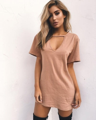 Casual T Shirt Sexy Mini Plus Size Hollow Out V Neck Short Sleeve Dress