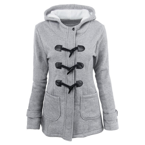 Overcoat Zipper Causal Outwear Coat Female Hooded Jacket