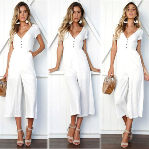 V neck Clubwear Playsuit Party High Waist Loose Jumpsuit