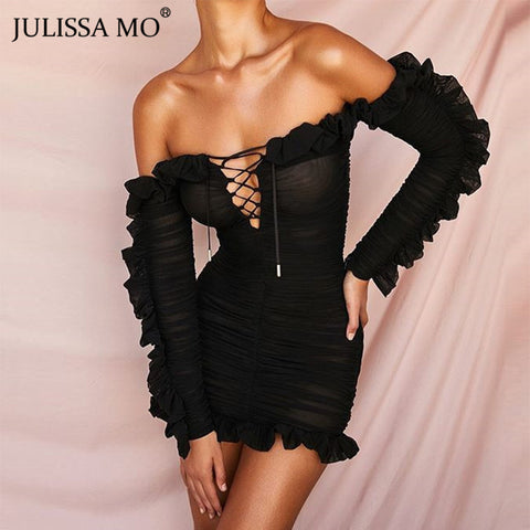 Double Layers Mesh Bodycon Sexy Off Shoulder Ruffles Sleeve Dress