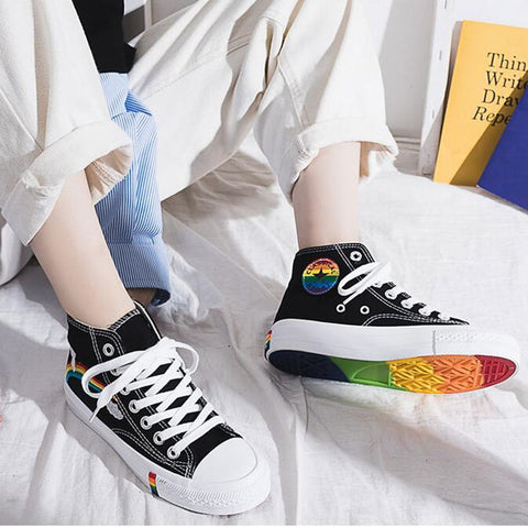 New Fashion Black Breathable Classic High Canvas Sneakers