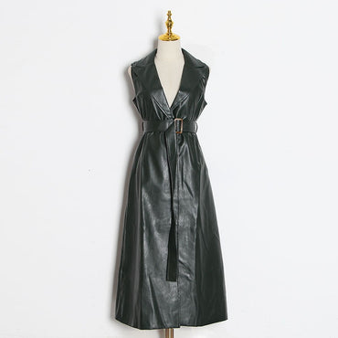 A Line Leather Lapel Sleeveless Off Shoulder High Waist With Sashes Dress