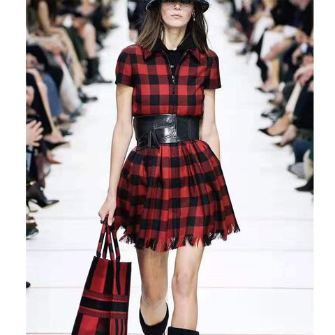 Red Plaid Short Shirt Zipper Runway Vintage Gothic Christmas Party Dress