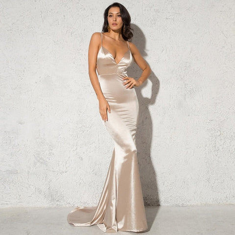 Floor Length Elegant Party V Neck Backless Bodycon Sexy Dress