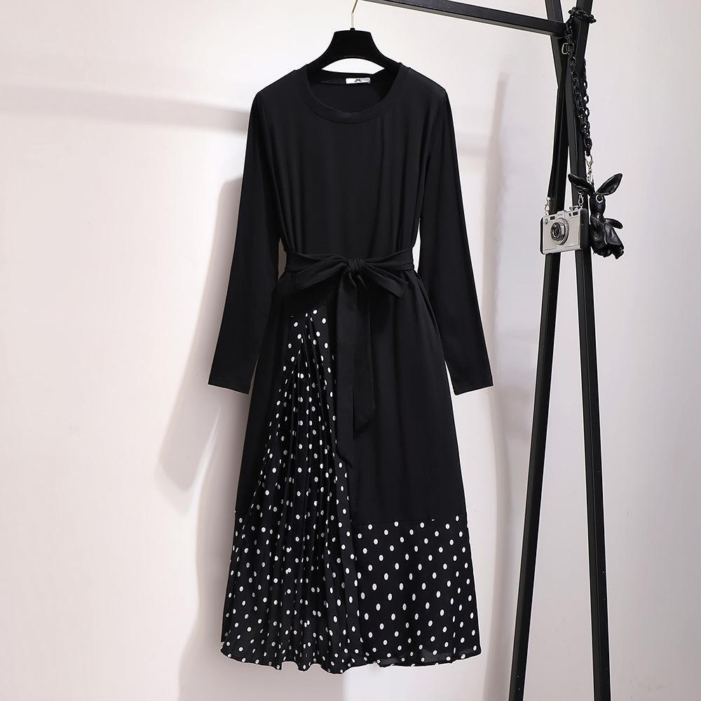 Polka Dot Casual Long Sleeve Dress Patchwork Office Black Dress