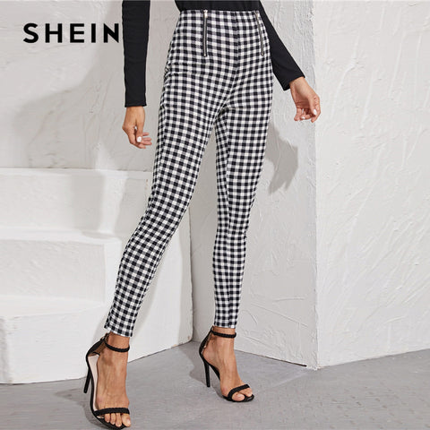 Black And White Zipper Front Gingham Print Skinny Preppy Pants