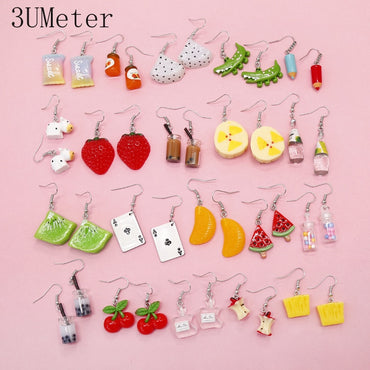 Cute Series Personality Creative Fruit Funny Animal Drop Earrings Gift