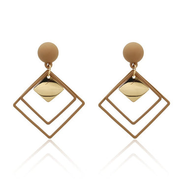 Gold Metal Single Drop Dangle Vintage Statement Round Geometric Earring