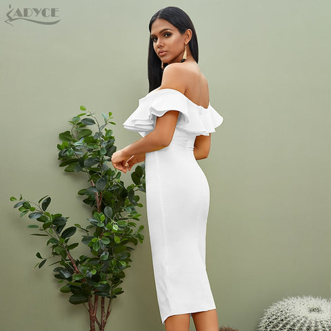 Sexy Off Shoulder Bandage Vestidos Ruffles Slash Neck Club Dress