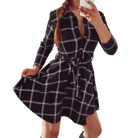 Casual Plaid High Waist Charming Slim Long Sleeve Mini Dress