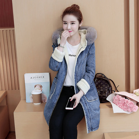 Warm Long denim coat Ladies Casual Loose Fur collar thick cashmere