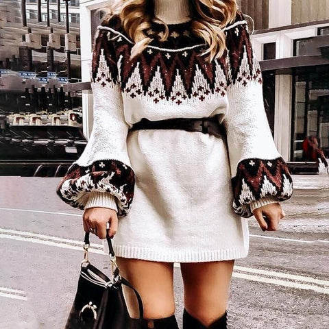 Mossha Casual turtle neck pullover sweaters Geometric print vintage dress