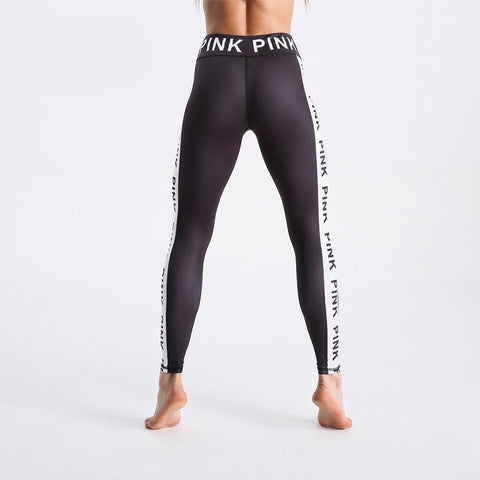 Fashion Black Letters Printed Pants Outdoor Sports Fitness Leggings