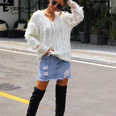 Everkaki Tassels Knitted Sweaters Pullovers Boho Solid V Neck