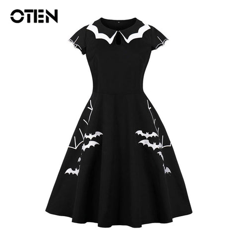 Cap Sleeve Bat Pin up Skater Swing Black Halloween Party dresses
